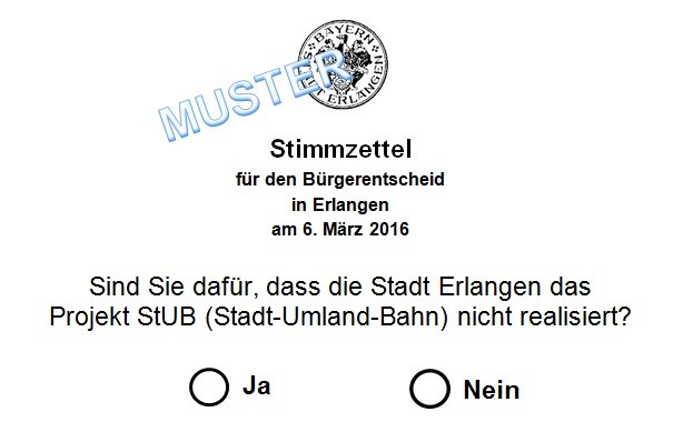 StUB Erlangen - Stadt-Umland-Bahn Erlangen - Muster-Stimmzettel