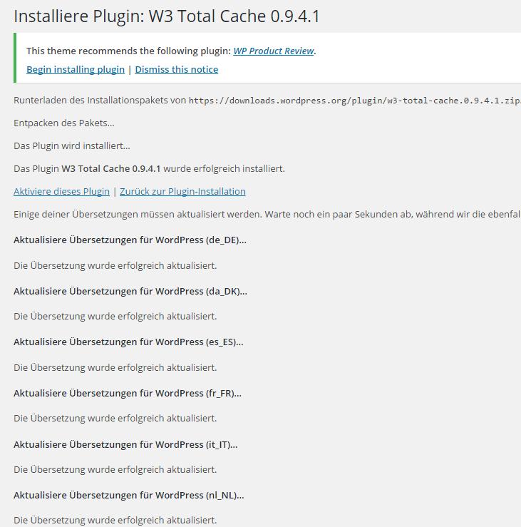 Installation W3 Total Cache