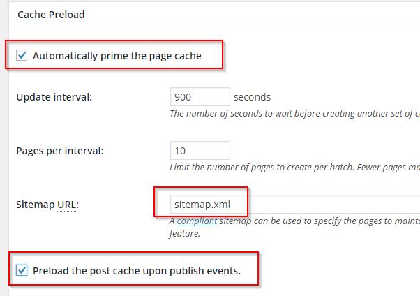 W3 Total Cache Konfiguration - Page Cache - Preload