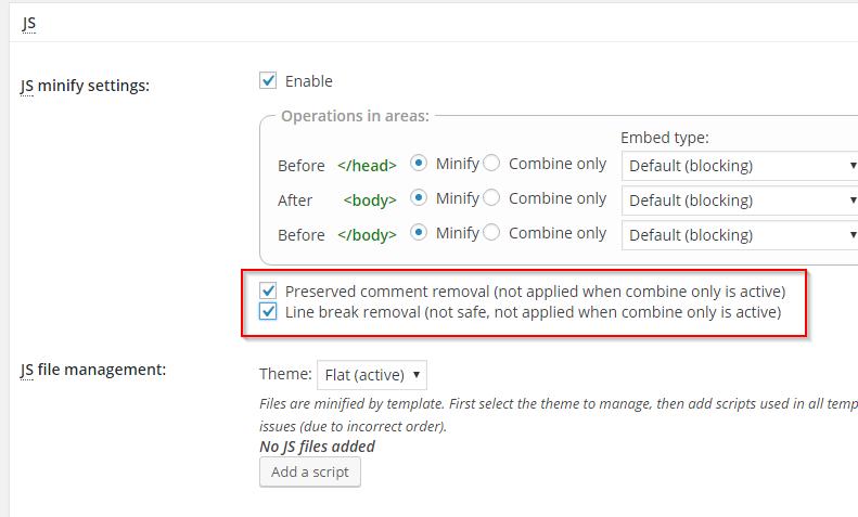 W3 Total Cache Konfiguration - Minify - JS