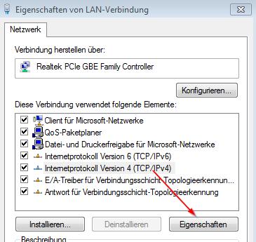 Google DNS einstellen am eigenen PC - Internetprotokoll 4 (TCP/IP v4)