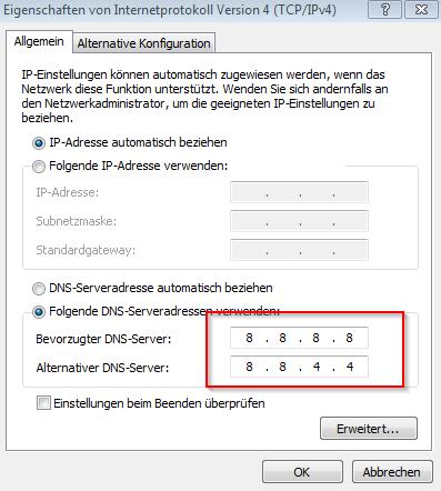 Google DNS einstellen am eigenen PC - Internetprotokoll 4 (TCP/IP v4) - DNS Daten