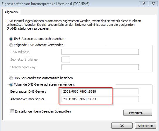 Google DNS einstellen am eigenen PC - Internetprotokoll 6 (TCP/IP v6) - DNS Daten